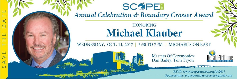Congratulations to the recipient of the 2017 Boundary Crosser Award: Michael Klauber. - Congratulations to the recipient of the 2017 Boundary Crosser Award: Michael Klauber. Originally from Buffalo, NY, Michael Klauber is co-proprietor of the award-winning Michael's On East restaurant. Following studies at Cornell University, Michael participated in management training programs at the famed Royal Sonesta and Arnaud's restaurant in New Orleans. He returned to Sarasota to oversee restaurant operations, in 1980, at his family's historic Colony Beach & Tennis Resort on Longboat Key before striking out on his own in 1987 to open Michael's On East.Michael is co-founder of the Sarasota-Manatee Originals, a marketing collaboration boasting more than 50 independent restaurants throughout Sarasota and Manatee Counties, original founder of Florida Winefest and co-founder/co-chair of the Forks & Corks Food & Wine Festival. A lifetime techie, his website www.bestfood.com was the first restaurant website online in 1994. Today, he continues as a leader in innovative marketing strategies and partnerships with the Michael's brand and through volunteerism with industry and community partnerships. Michael has become widely recognized for his passion as a volunteer charity auctioneer. Residents of Downtown Sarasota, he and his wife Terri frequently lend their talents, hospitality and support to local nonprofit organizations and enjoy being part of such a thriving cultural community. Each year, they also host exclusive Gulf Coast Connoisseur Club journeys to the world's most exotic food and wine destinations. Currently, Michael enjoys serving as a board member for Visit Sarasota County, Nathan Benderson Community Park Foundation, Sarasota Bayfront Planning Organization, Sarasota-Manatee Originals and Chairman of the Sarasota Bayfront 20:20 community initiative.