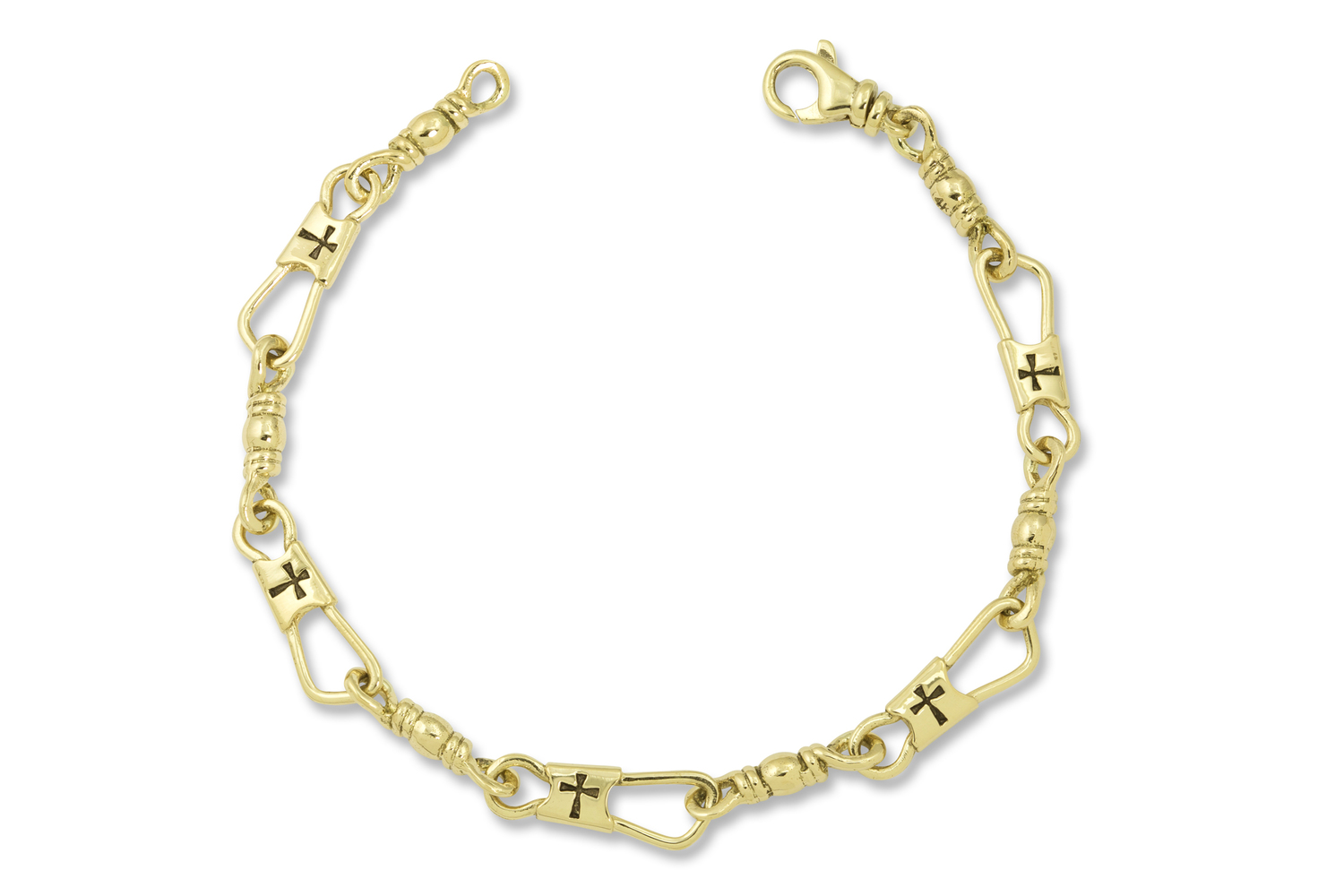 14k Yellow Gold Fisher Of Men With Crosses