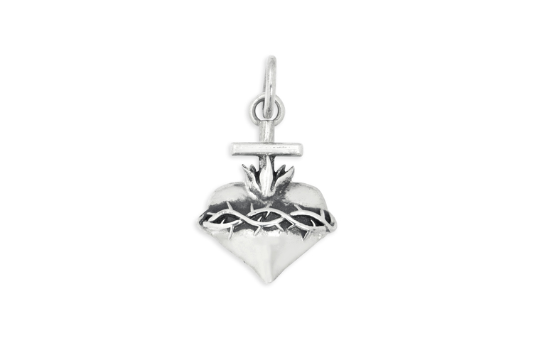 Heart with crown of thorns and cross charm alonso jewelry design heart with crown of thorns and cross charm aloadofball Image collections