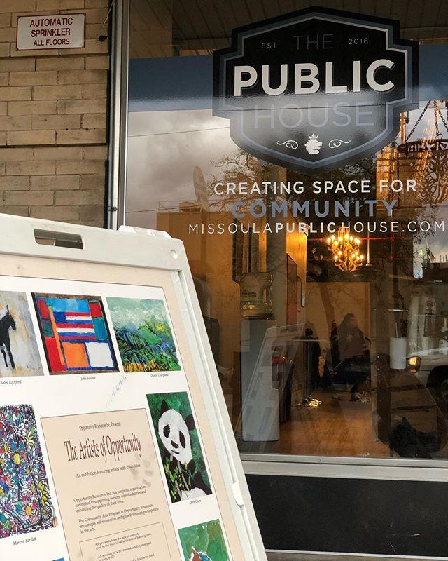 First Friday—right now! @opportunity_resources #artistsofopportunity #missoula #missoulamontana #montana #publichousemissoula #missoulamoment #art #downtownmissoula