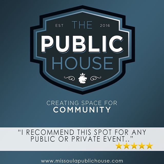 Have you discovered The Public House?  Do you have a celebration, business retreat or music event coming up?  Check us out! #missoula #rentthisspace #montanaweddingphotographer #urbanwedding #montanawedding #celebration #community #downtown #downtownmissoula #missoulamontana #missoulamoment #missoulamt #fivestars #montana #montanalife