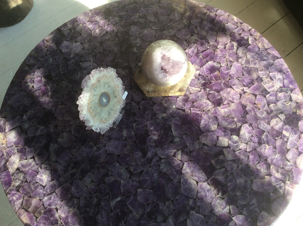 amethyst slices on a composite table
