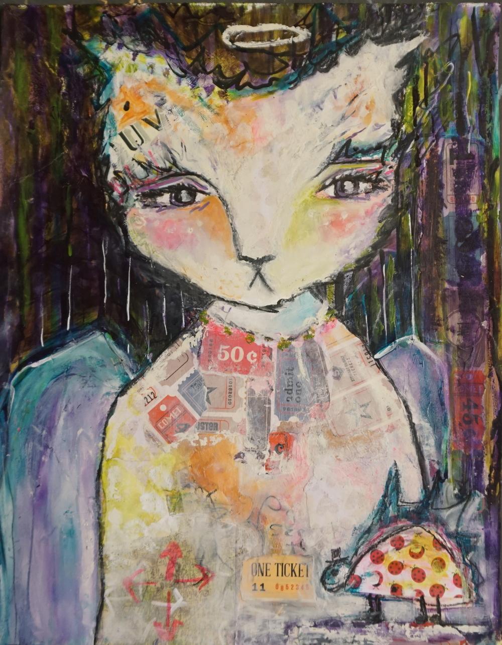 """Circus Cat 11"""" x 14"""" paper (Sold)"""