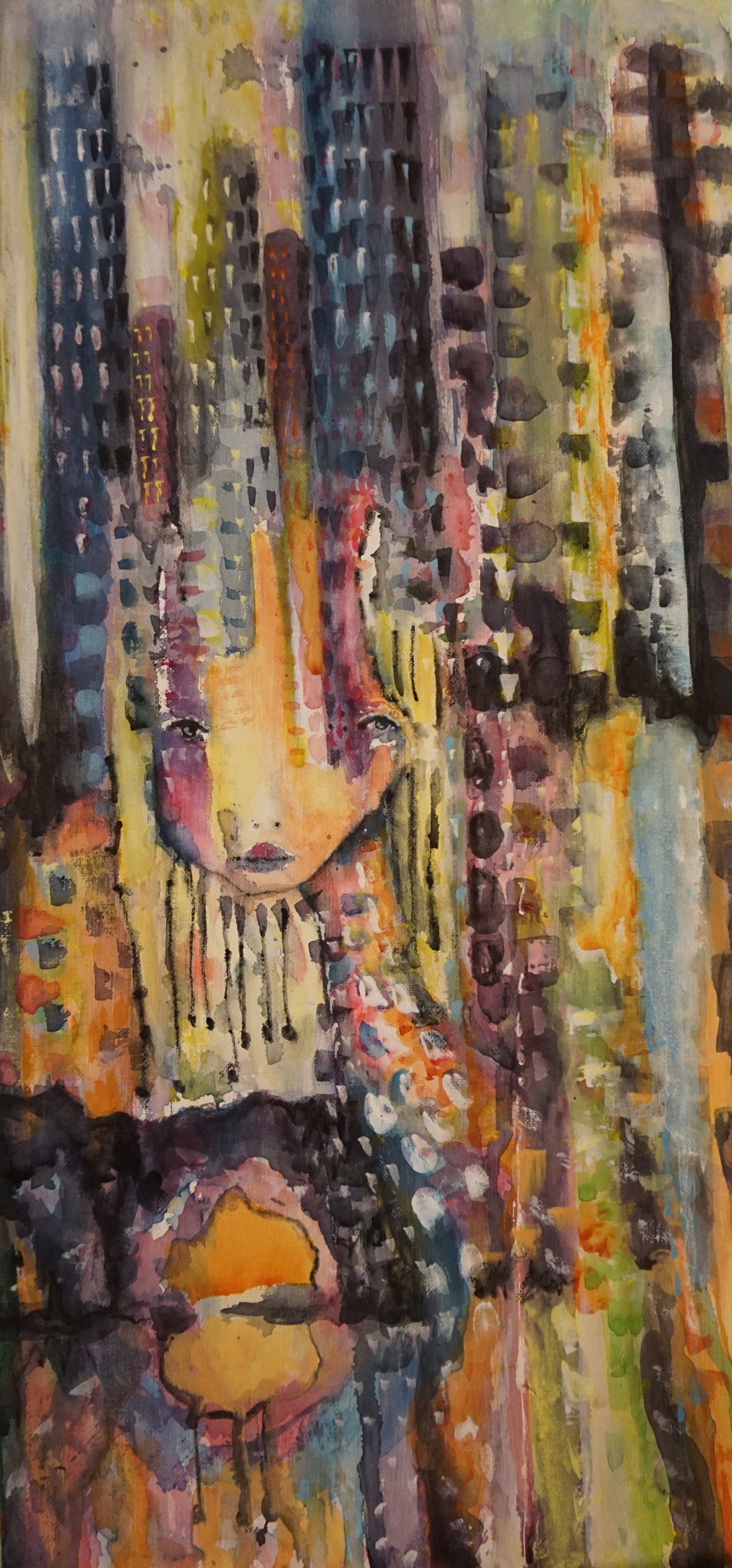 "City Giraffe 11"" x 24"" canvas (sold)"