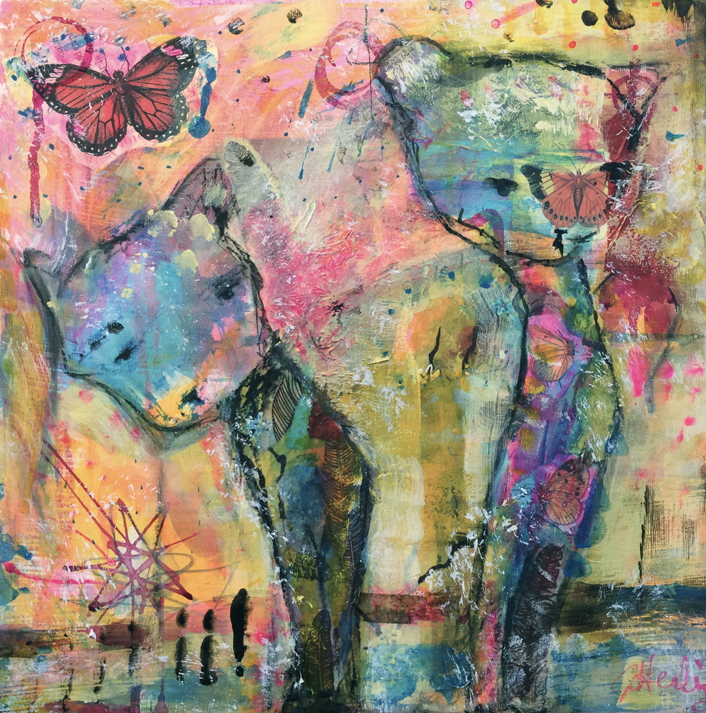 "She Sleeps With Butterflies 12"" x 12"" canvas (sold)"