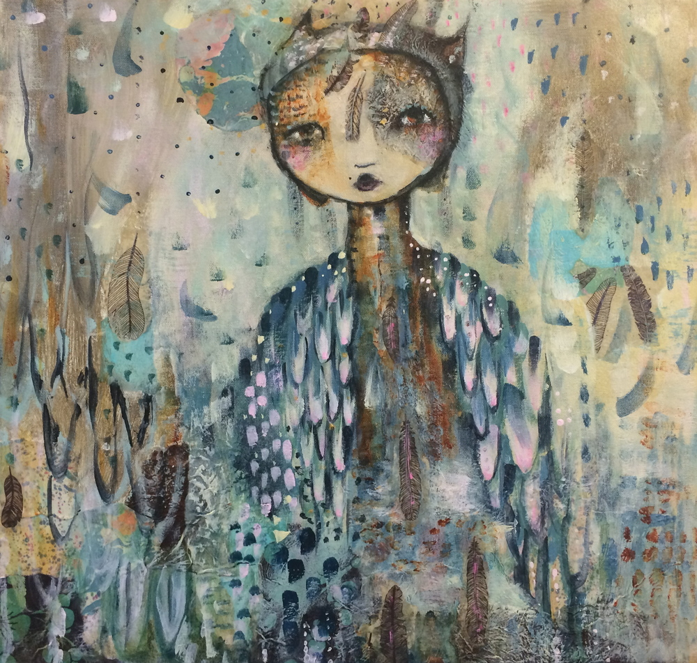 "Lady Owl 19"" 20"" canvas (sold)"