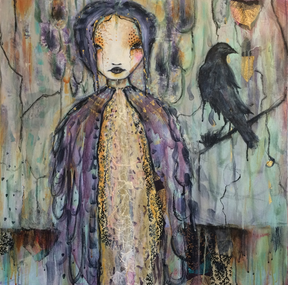"Lady Raven 24"" x 24"" canvas (sold)"