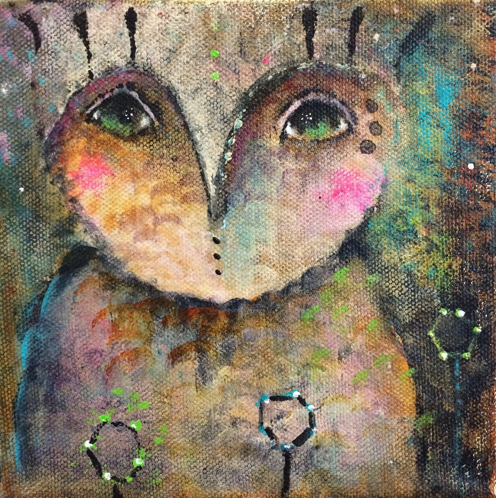 "Owlet 6""x 6"" canvas (sold)"