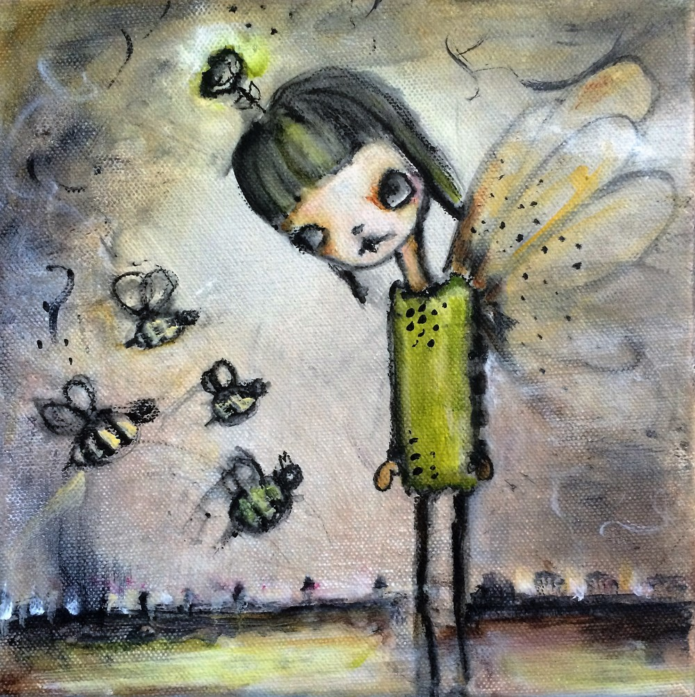 "Save the Bees 8""x 8"" canvas (Sold)"