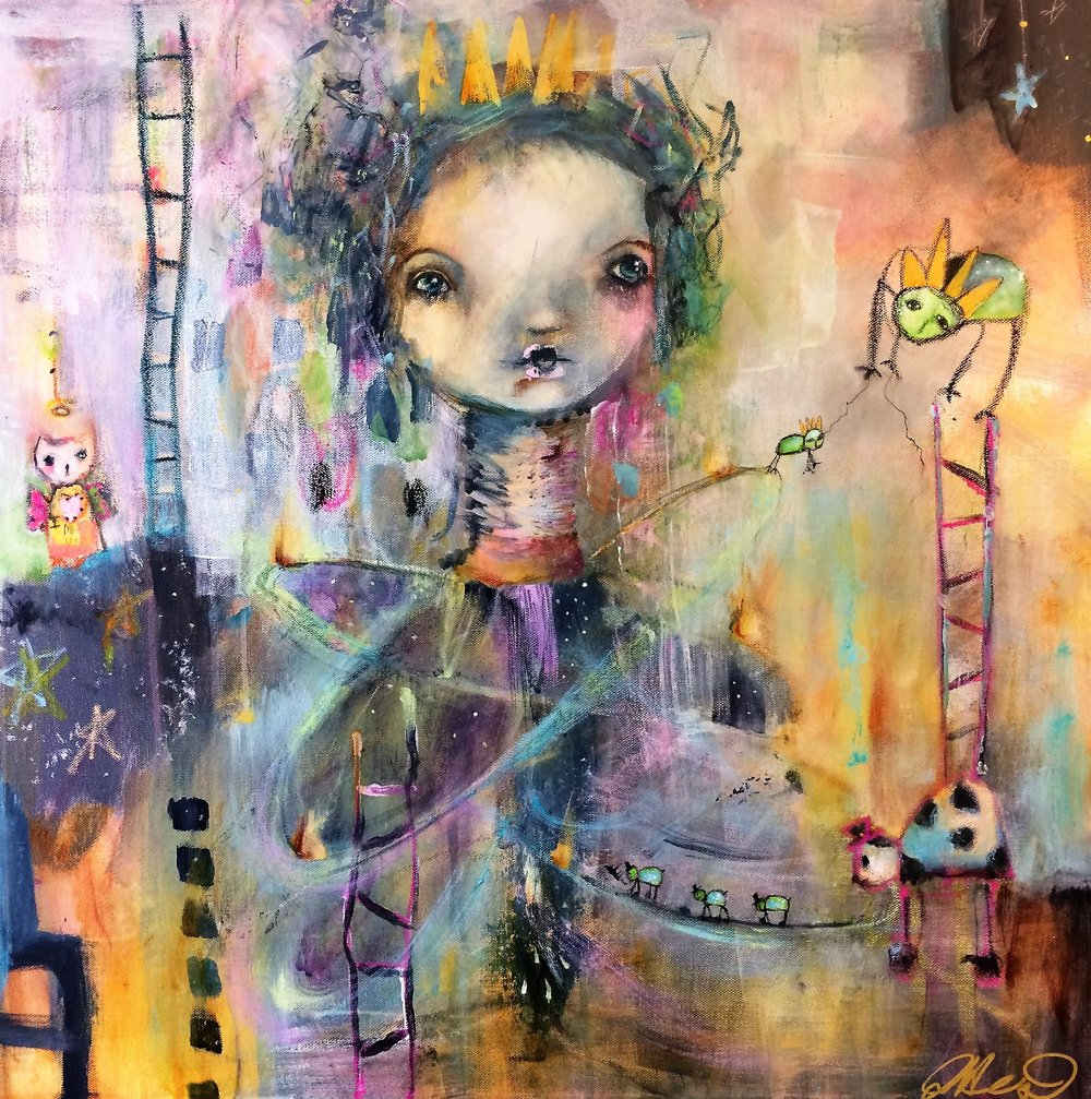 "Queen of Her Imagination 24""x 24"" mixed media"