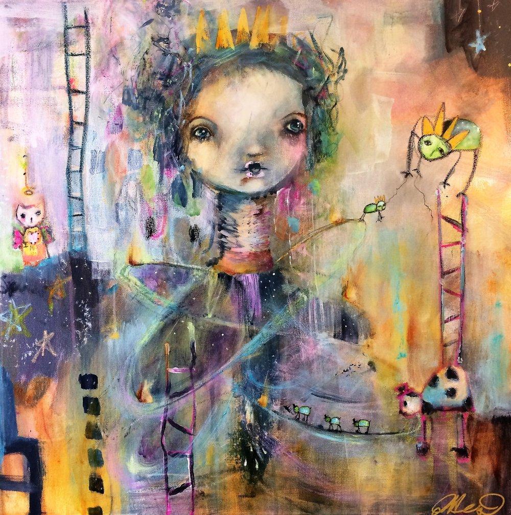 """Queen of Her Imagination 24""""x 24"""" mixed media"""