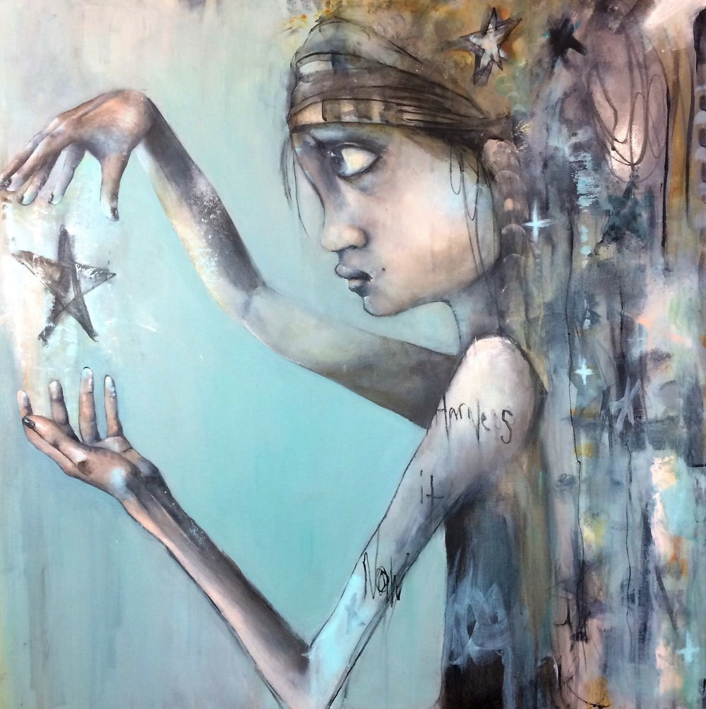 "Star Girl #3 36""x 36"" acrylic"