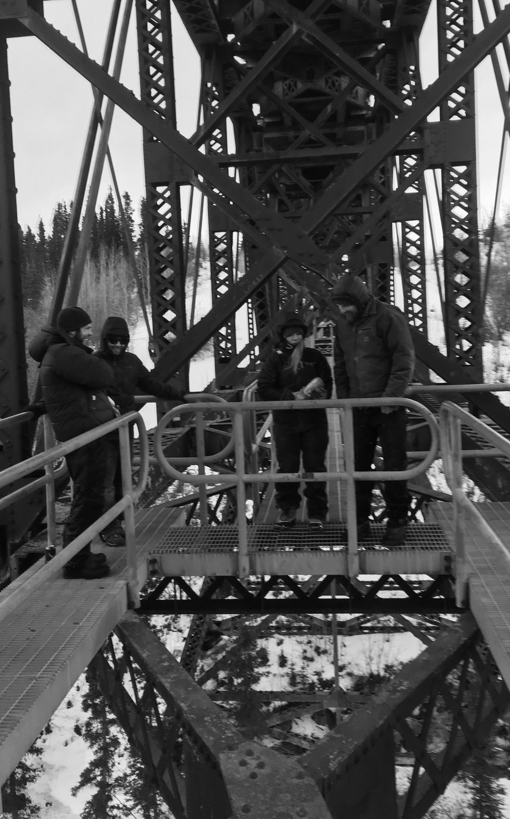 The gang throwing rocks off the trestle bridge on the McCarthy Road
