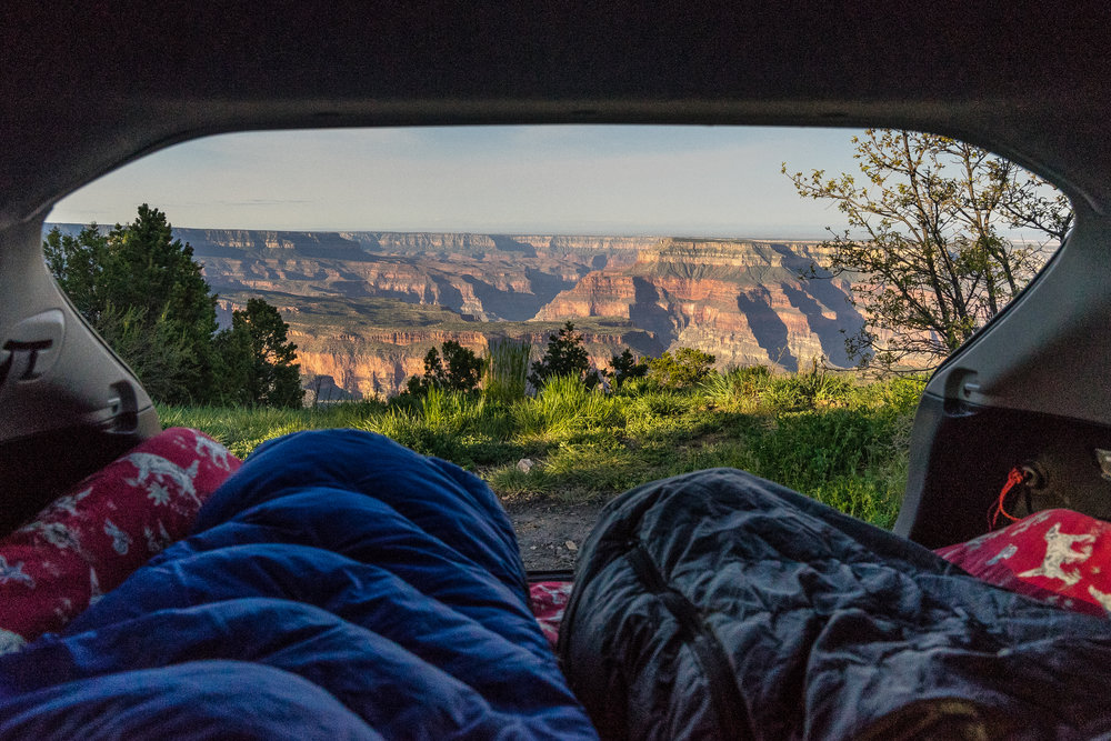 Car camping before the hike in. You can drive right up to the edge, no permit required.
