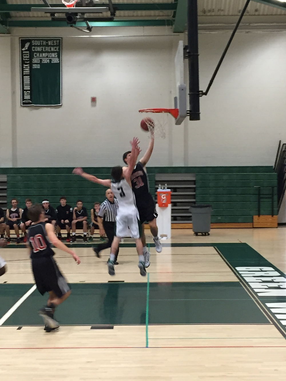 Panther's senior Grant Wallace goes up for fast break layup. Provided by: CTHoopsNews