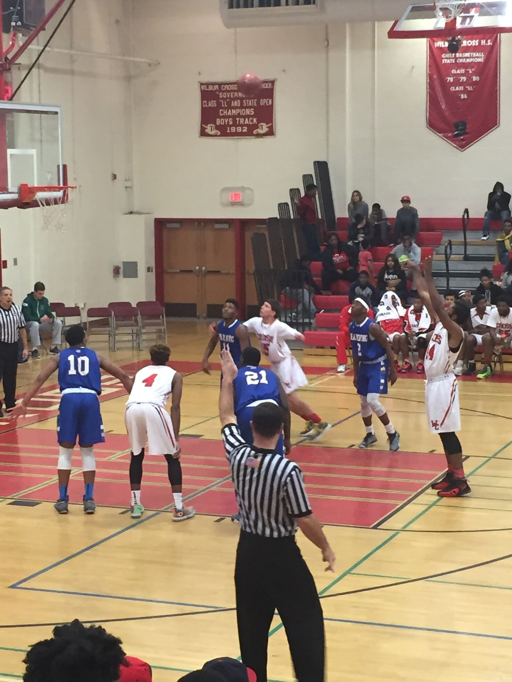 Wilbur Cross senior, Robert Durant, takes foul shot against Harding. Provided by: CTHoopsNews