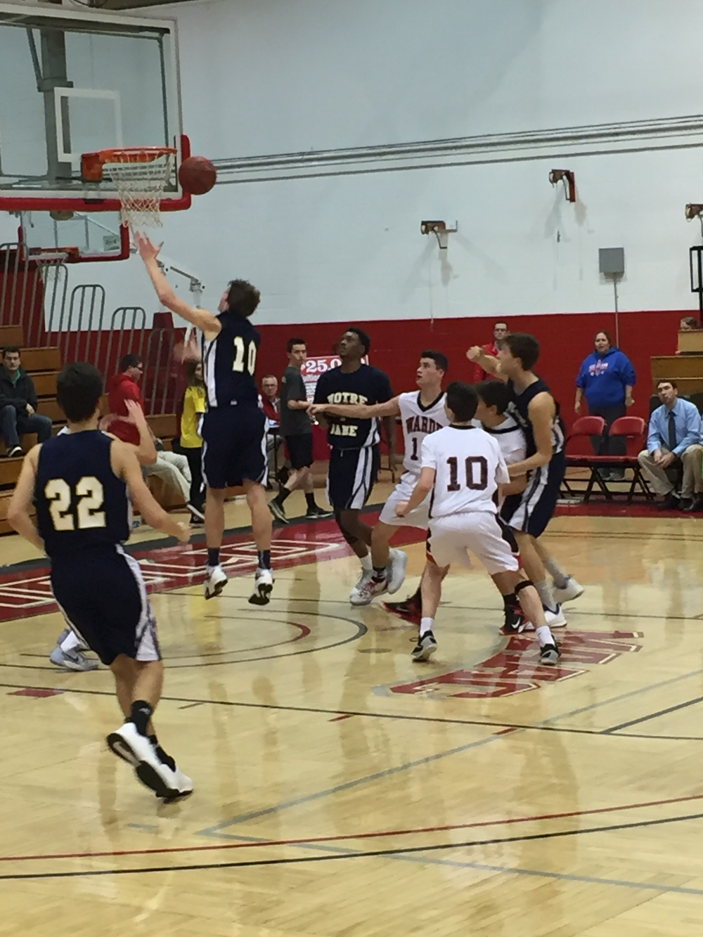 Notre Dame junior Colin Burke goes up strong in the paint for two. Provided by: CTHoopsNews