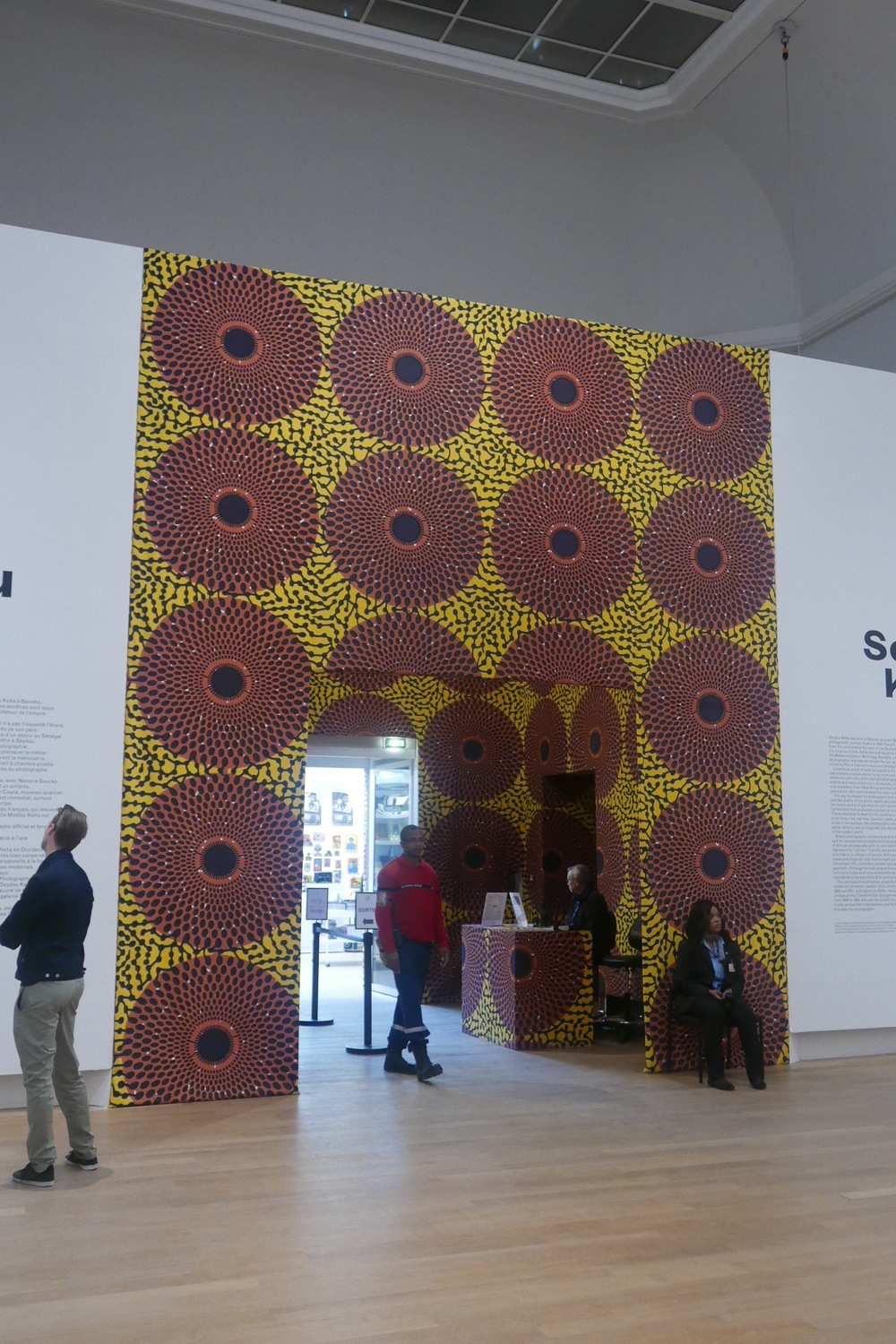 Fantastic African fabric at the entrance to the exhibition