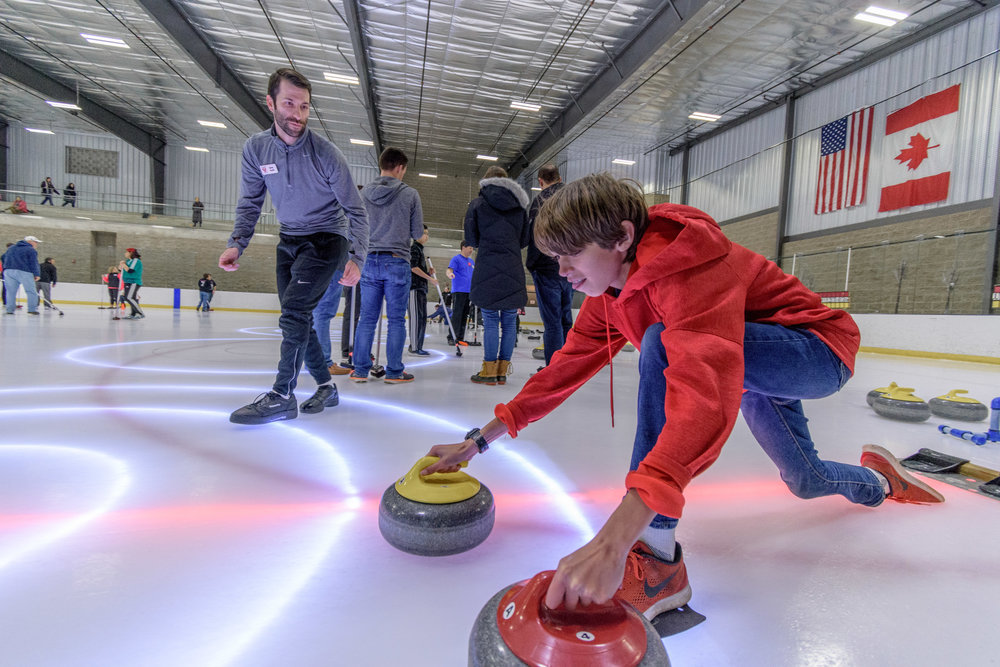Atlanta Curling Club lesson at Center Ice Arena with LED lights