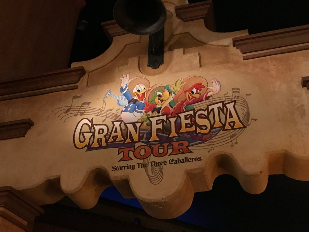 Don't miss... - Disney's Gran Fiesta Tour Starring The Three Caballeros ride sails right by your dining table. Don't miss the boat tour – guided by Donald Duck, Panchito Pistoles, Jose Carioca – following your delicious meal.