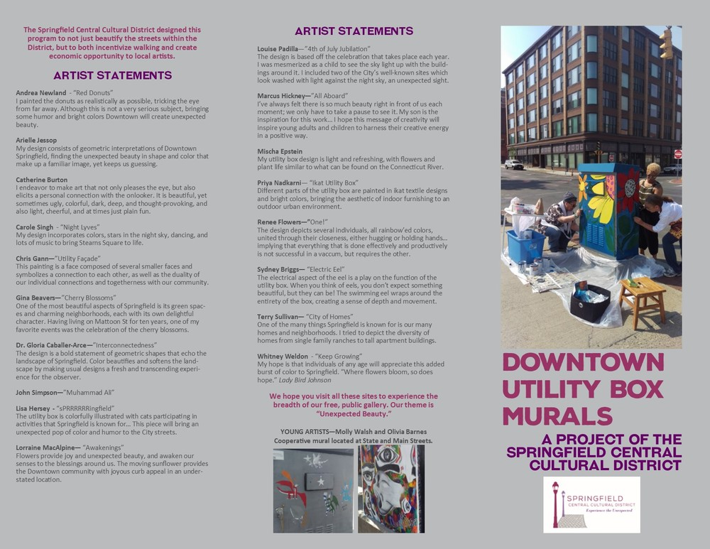 Click on the image to enlarge. Pamphlets are available at the Cultural District office and Downtown partners.