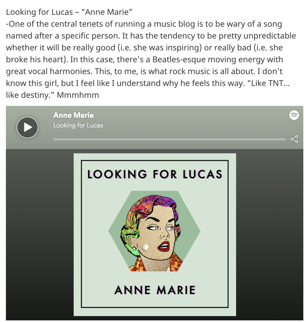 LOOKING FOR LUCAS - Anne Marie featured in Ear to the Ground music blog