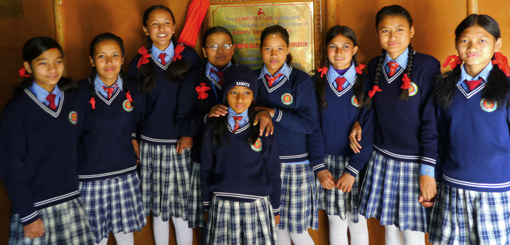 Schoolgirls in Nepal supported by one of our partner organizations, Empower Nepali Girls.