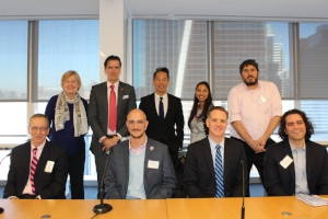 Back  row:  Jaana Rehnstrom MD, Interim ED of the Kota Alliance;  Ambassador Kai Sauer (Permanent Representative of Finland to the UN); Richard Lui, MSNBC;   Aapta Garg, Promundo: Joe Samalin, Breakthrough.   Front row: Antonie de Jong, UNWomen; Pablo Freund, BeGirl; Andy Bettwy, Proskauer; Jonathan Kalin, Party With Consent.