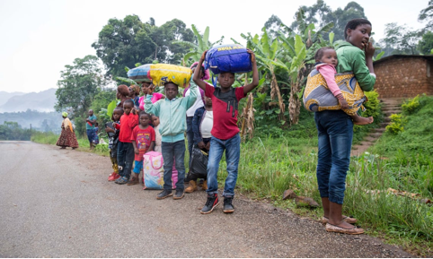 Web Source Picture: The Guardian (photograph excerpt, Peter Zongo). Villagers (women and children) from Belo, in Cameroon's north-west, flee the fighting, heading for nearby Bamenda.