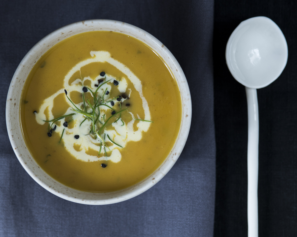 Carrot soup with cream and garlic chives.jpg