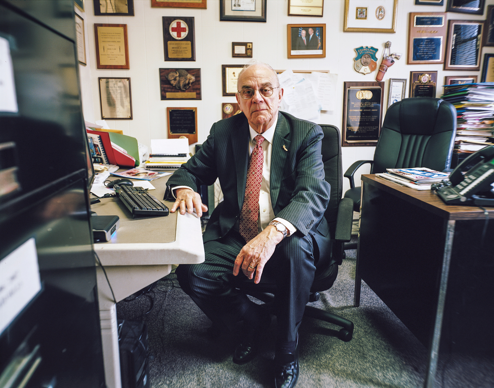Conservative Party of New York Chairman Michael R. Long in his office in Bay Ridge, Brooklyn.