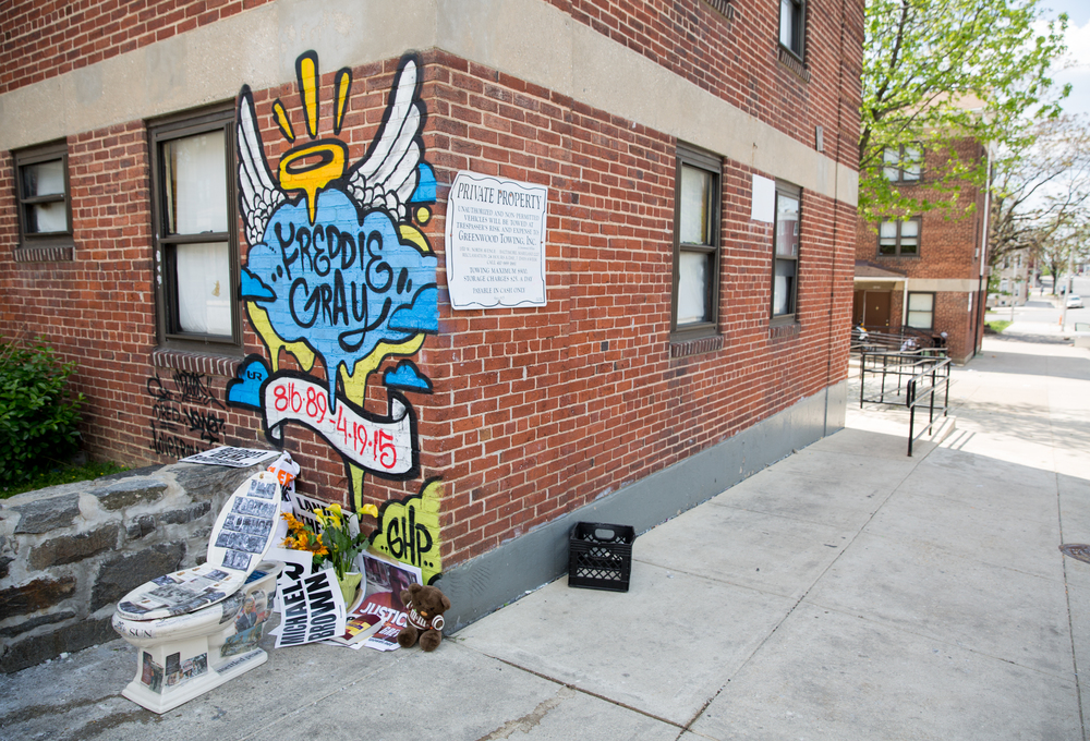 The site of Freddie Gray's arrest, and the last place he was seen alive, has since become a gathering point and protest center in the Sandtown neighborhood of which he was a resident. Baltimore, Maryland.