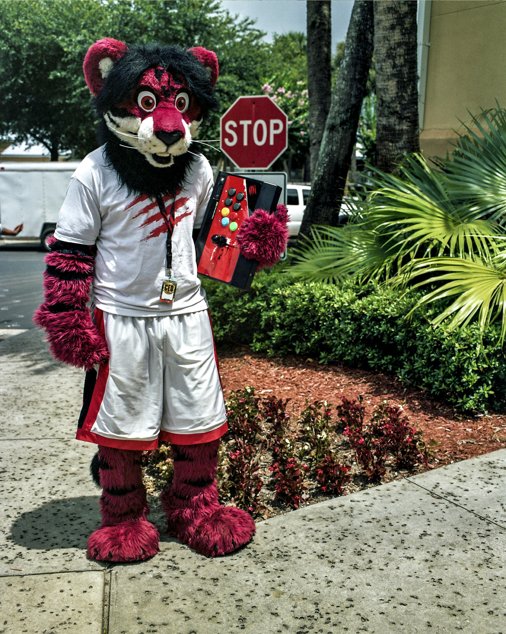 "Damien ""Fiyah Liger"" Walton, 23, the official mascot of Madcatz, an arcade stick manufacturer, outside the convention center at the CEO competitive gaming tournament in Orlando, Florida."