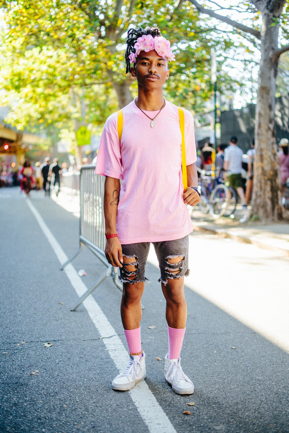 "Thomas Hill, 19. ""I heard about Afropunk, I went to the thrift store around the corner for $20 and came out with this outfit."""