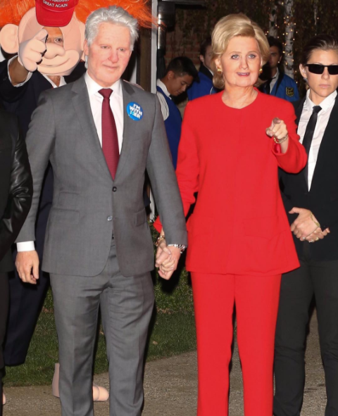 Image via Instagram @katyperry. Orlando Bloom and Katy Perry as Bill and Hillary Clinton.