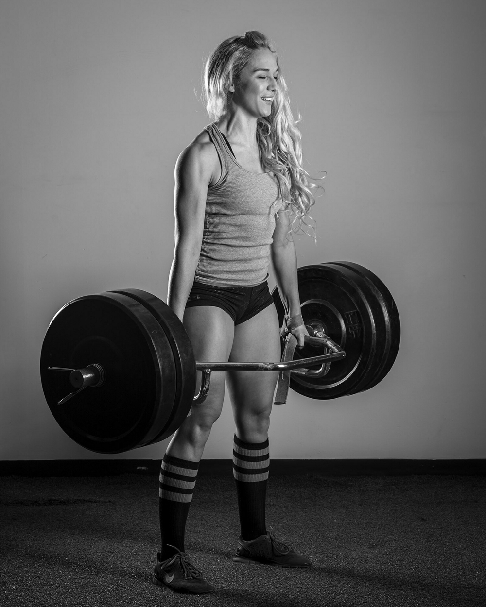 Chelsey deadlifting 225 for fun.