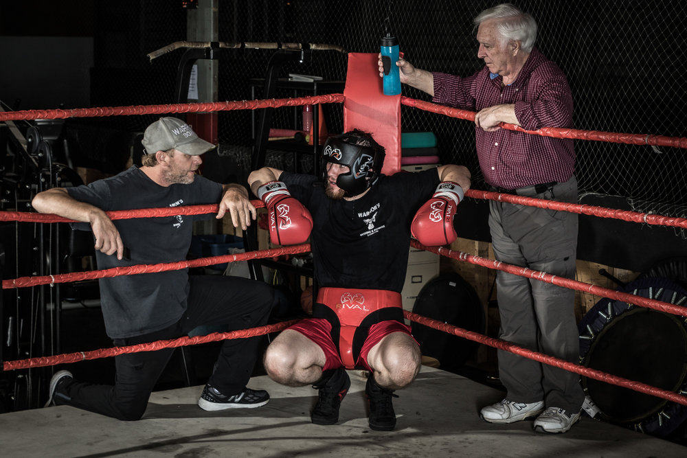 Nick Robinson training for his pro debut with coaches Rob Caron and Bob Wilcox