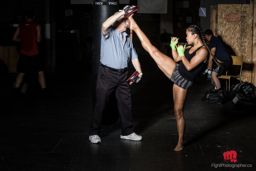high kick with coach