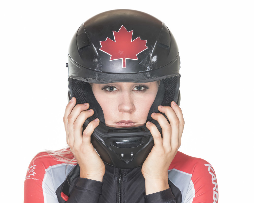 Bobsleighs can travel at 140+ km/h, notice the scrapes on the helmet?