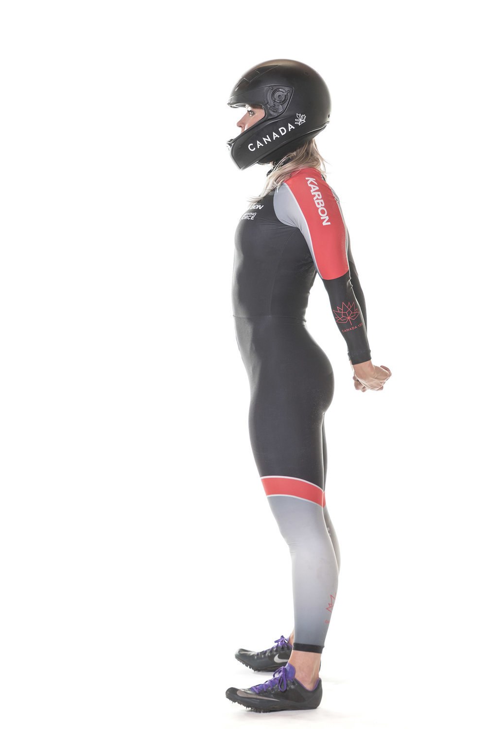 In her speed suit and spikes