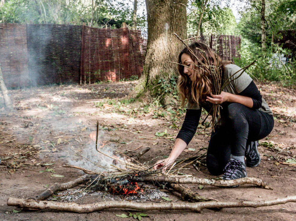 Go Wild Forest School Training Rewild Retreat making fire