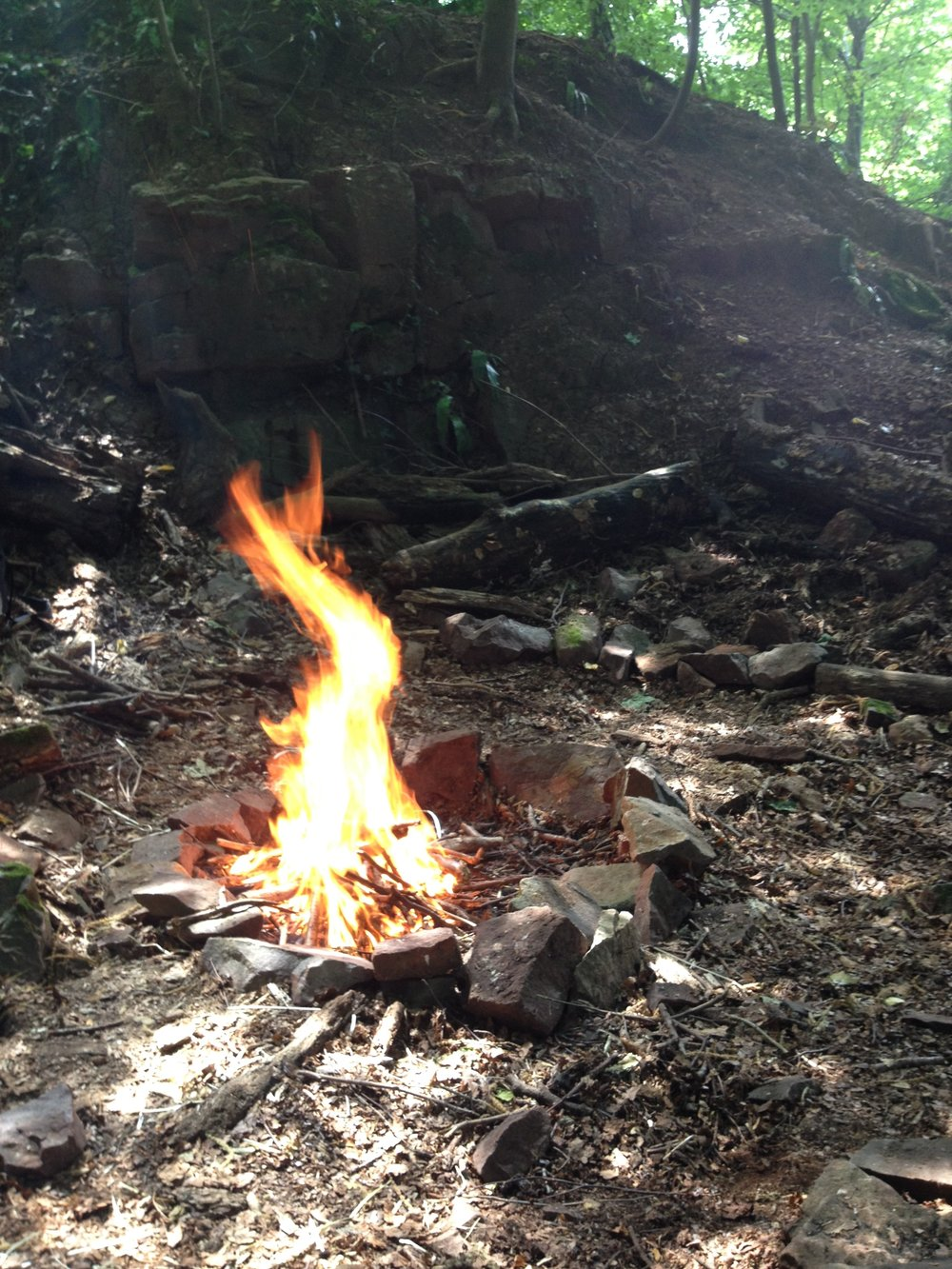 Go Wild Forest School fire and rocks.JPG