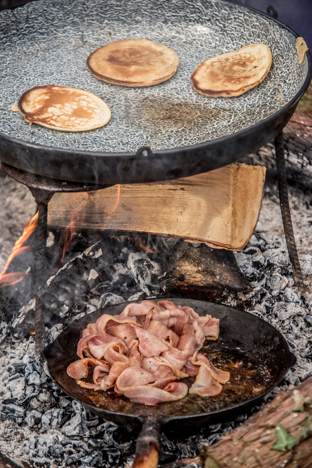 Go Wild Forest School Level 3 Training campfire pancakes bacon log.jpg