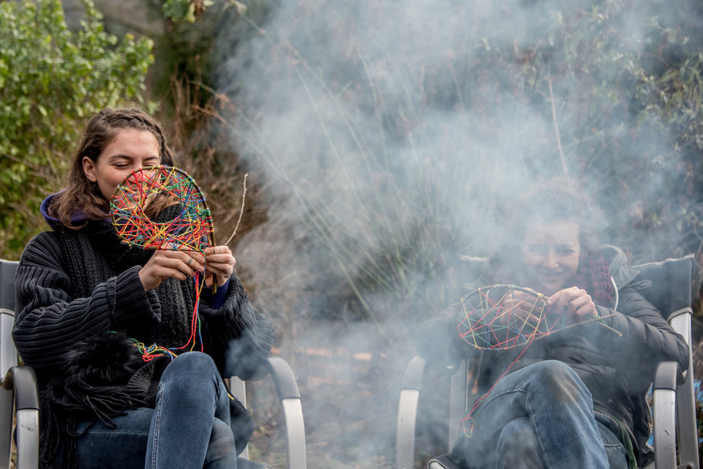 Go Wild Forest School Level 3 Training campfire dreamcatchers.jpg