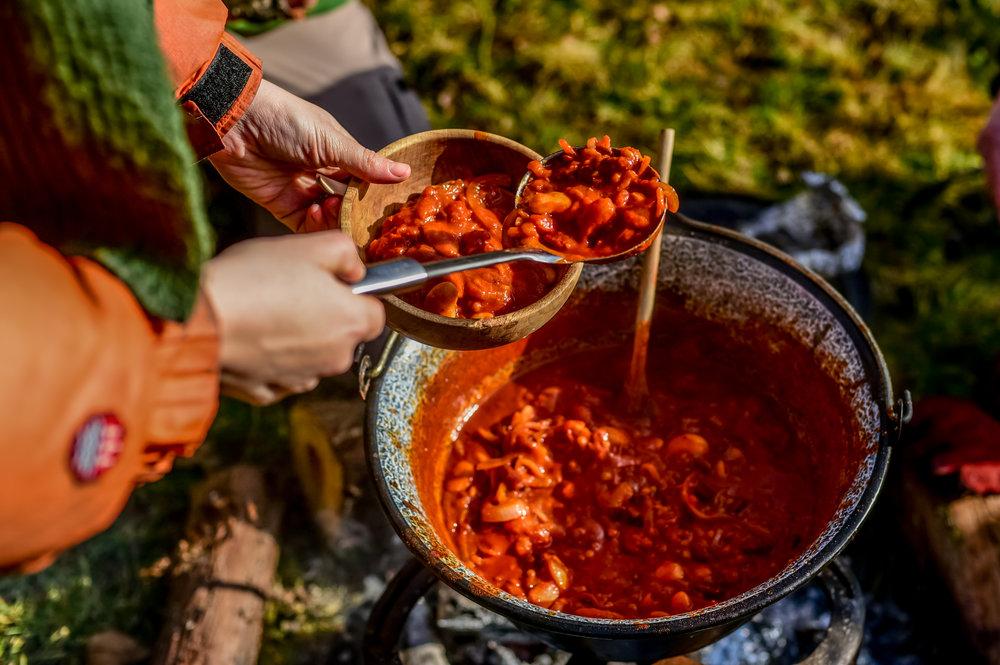 Go Wild Forest School Level 3 Training campfire cooking bean stew.jpg
