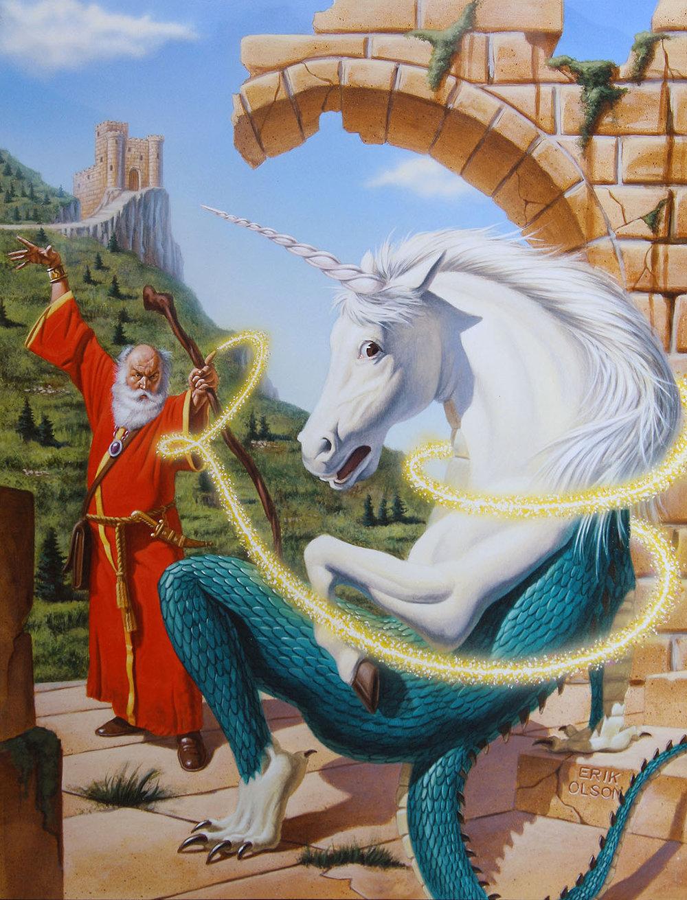 Wizard Turning Lizard into Unicorn