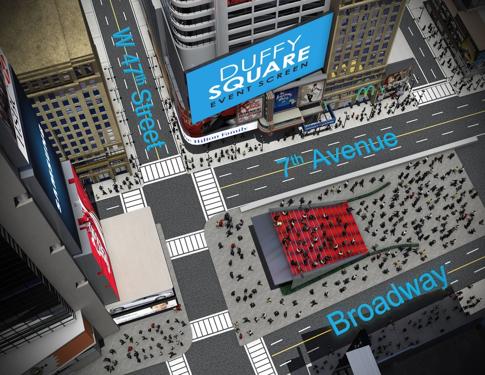 A BIRds eye view of the duffy square event screen (centre)