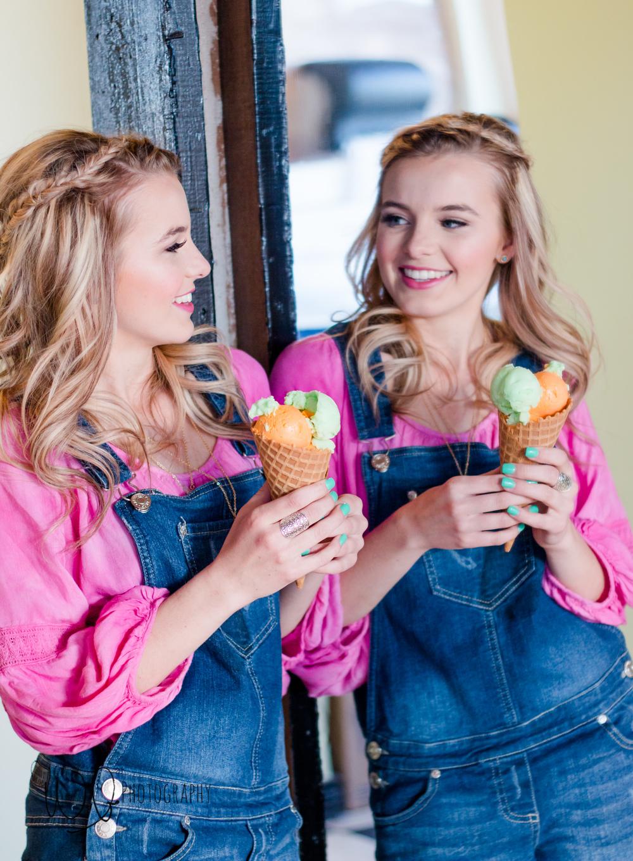 ice cream parlor, senior pictures