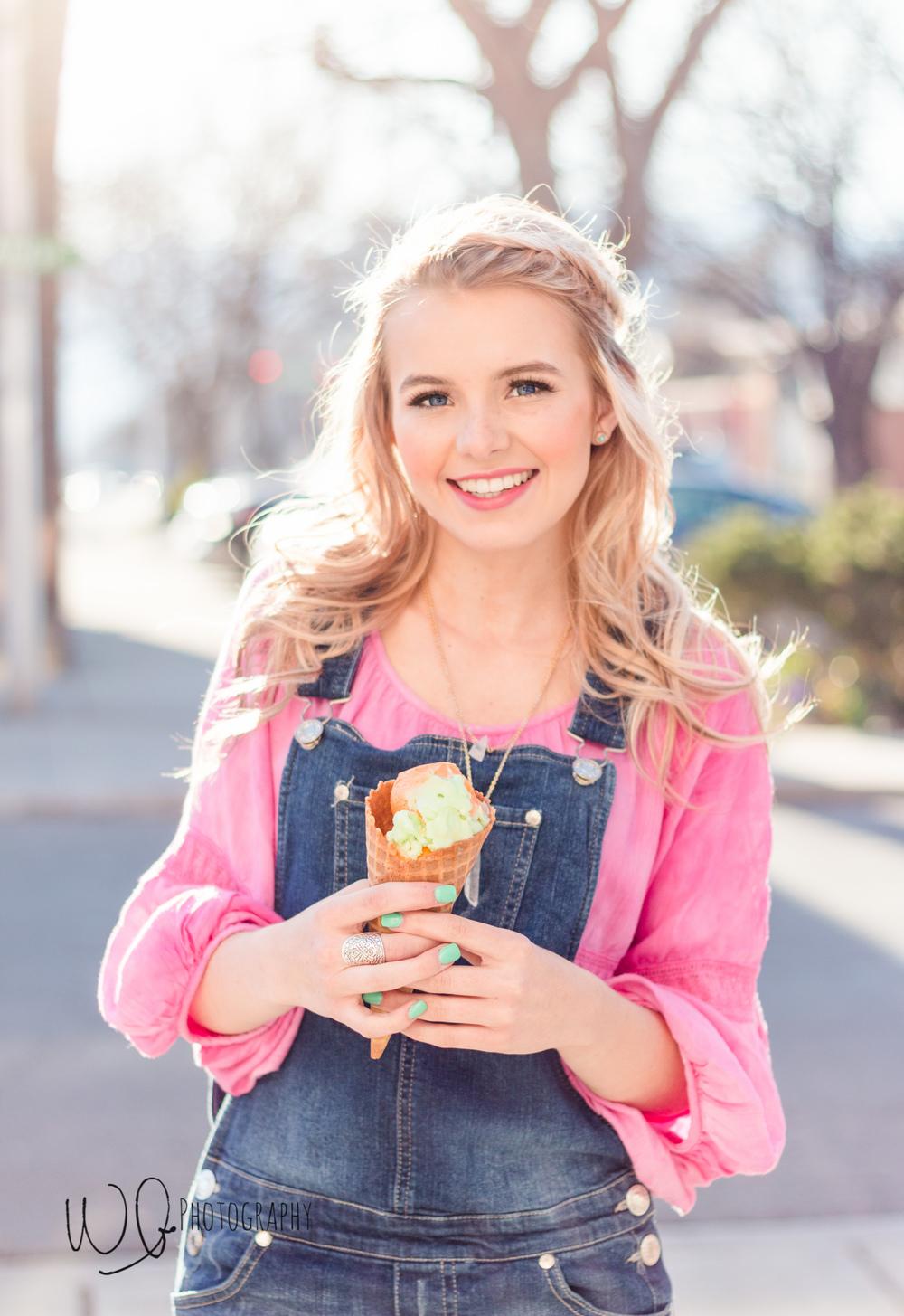 senior pictures, ice cream