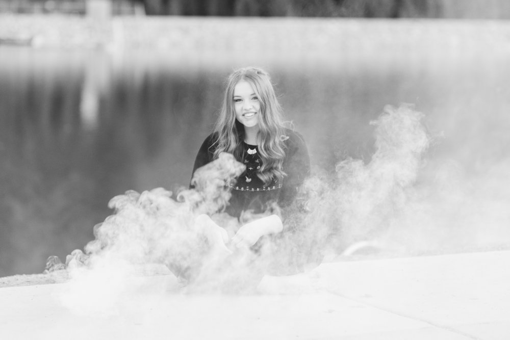 Smoke bomb senior photos